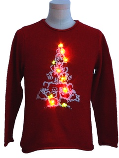 1990's Womens or Girls Lightup Ugly Christmas Sweater