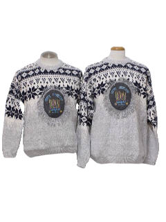 1980's Unisex Matching Pair of Two Ugly Hanukkah Christmas Sweaters