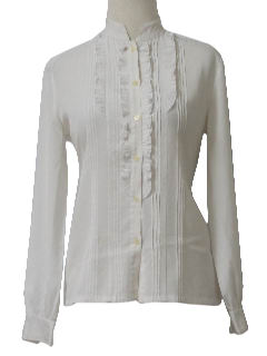 1970's Womens Frilly Lacey Shirt