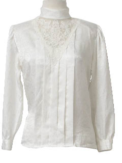 1980's Womens Totally 80s Frilly Pleated Lacey Shirt
