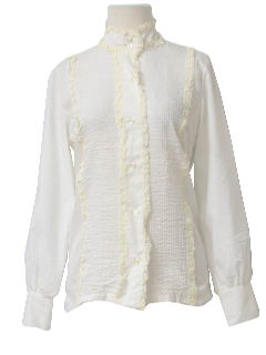 1960's Womens Mod Frilly Lacey Shirt