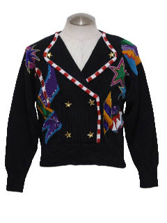 1980's Womens Totally 80s Style Ugly Christmas Sweater