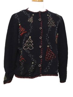 1980's Womens Beaded Cocktail Ugly Christmas Sweater