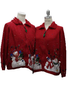 1980's Unisex Pair of Two Matching Ugly Christmas Sweaters