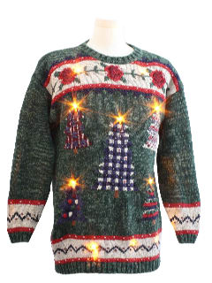 1980's Unisex Country Kitsch Lightup Ugly Christmas Sweater
