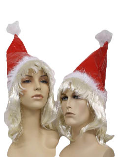 1990's Unisex Accessories - Ugly Christmas Vinyl Santa Blonde Wig Hat