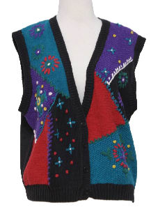 1990's Womens Wicked 90s Cheesy Kitschy Ugly Sweater vest