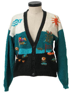 1990's Womens Cheesy Halloween or Ugly Fall Sweater