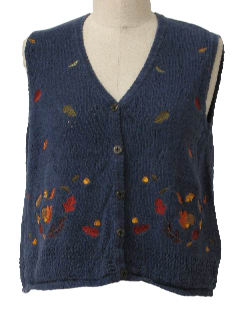 1990's Womens Cheesy Ugly Fall Sweater Vest
