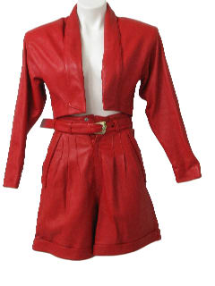 1980's Womens Totally 80s Leather Shorts Suit