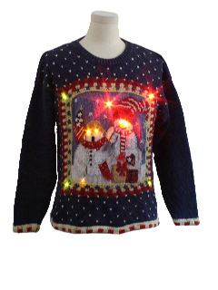 1980's Unisex Patriotic Lightup Ugly Christmas Sweater