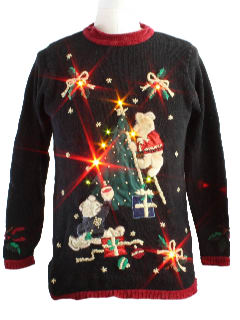 1980's Womens Bear-riffic Lightup Ugly Christmas Sweater