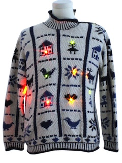 1980's Womens Country Kistch Lightup Ugly Christmas Sweater