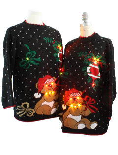 1980's Unisex Matching Pair of Two Bear-riffic Lightup Ugly Christmas Sweaters