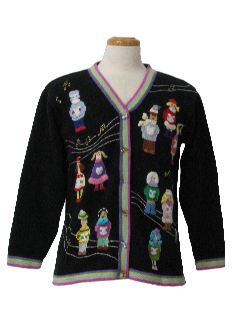 1980's Womens Ugly Christmas Cardigan Sweater