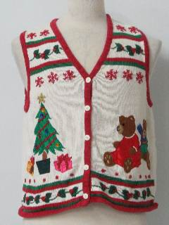 1980's Womens Bear-ific Ugly Christmas Sweater Vest