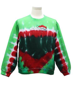 1980's Womens Tie Dyed Ugly Christmas Sweatshirt