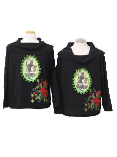 1980's Womens Matching Pair of Two Ugly Krampus Christmas Sweaters