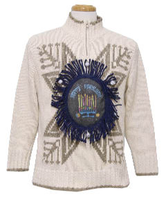 1980's Womens Ugly Christmas Style Hanukkah Sweater