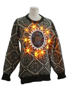 1980's Unisex Lightup Ugly Christmas Style Hanukkah Sweater