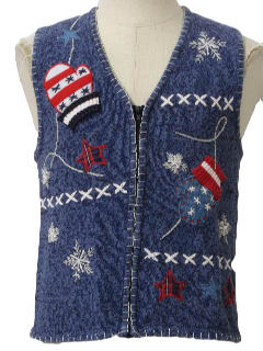 1980's Womens Patriotic Ugly Christmas Sweater Vest