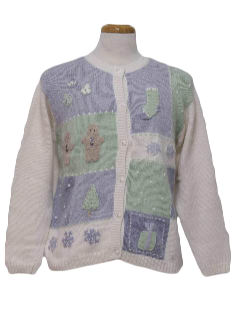 1980's Womens Pastel Ugly Christmas Sweater