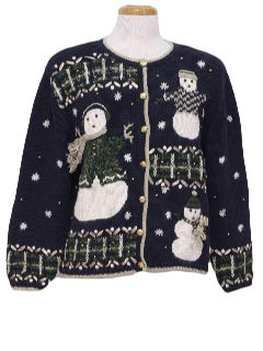 1980's Womens Oh-No-Its-Mr-Bill Looking Snowmen Ugly Christmas Sweater