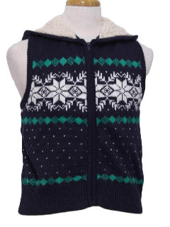 1980's Womens Ugly Christmas Hoodie Sweater Vest