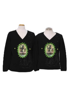 1980's Unisex Matching Pair of Ugly Krampus Christmas Sweaters