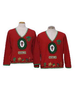 1980's Unisex Matching Pair of Two Ugly Krampus Christmas Sweaters