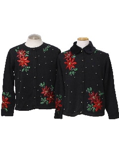 1980's Womens Pair of Two Matching Ugly Christmas Sweaters