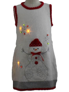 1980's Womens/Childs Lightup Ugly Christmas Sweater Dress