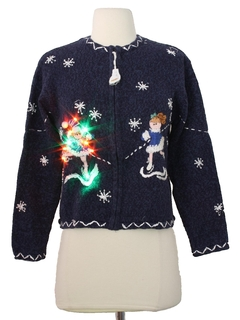 1980's Womens/Girls Ugly Lightup Christmas Sweater