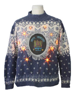 1980's Unisex Ugly Christmas Style Lightup Hanukkah Sweater