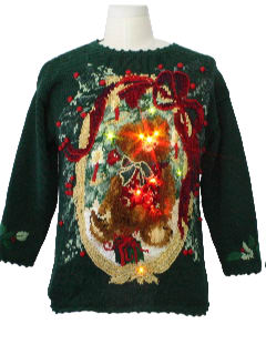 1980's Womens Bear-riffic Ugly Lightup Christmas Sweater