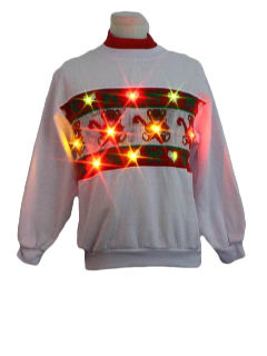 1980's Unisex Bear-riffic Ugly Lightup Christmas Sweater-Look  Sweatshirt