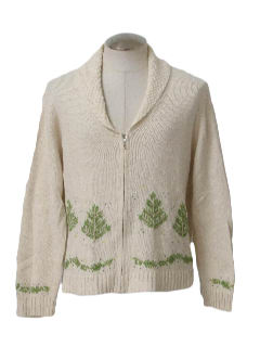 1980's Womens Minimalist Ugly Christmas Cardigan Sweater