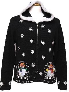1980's Womens Ugly Christmas Hoodie Sweater