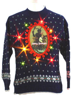 1980's Womens Ugly Lightup Krampus Christmas Sweater