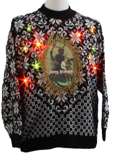 1980's Unisex Ugly Lightup Krampus Christmas Sweater