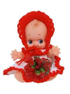 1990's Unisex Christmas Accessories - Home Decor Crocheted Cupie Style Doll Centerpiece