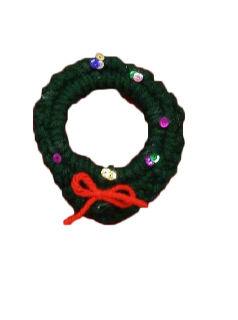 1990's Unisex Accessories - Jewelry Hand Crocheted Christmas Wreath Pin