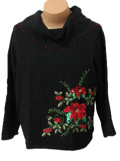 1980's Womens Oversized Slouch Fit Ugly Christmas Cocktail Sweater