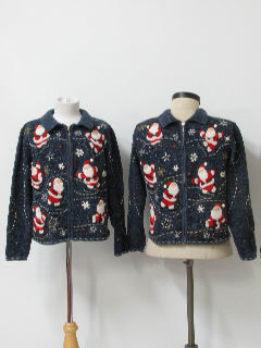 1980's Womens/Girls Matching Pair of Ugly Christmas Sweaters