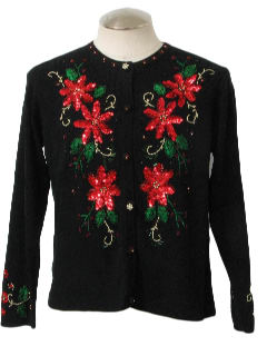 1990's Womens Ugly Christmas Sequined Cocktail Sweater