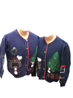 1980's Womens Matching Pair of Two Vintage Ugly Christmas Sweaters