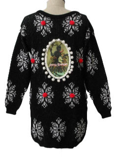 1980's Womens Oversized Long Fit Ugly Krampus Christmas Sweater