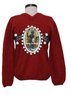 1980's Womens or Girls Ugly Krampus Christmas Sweater