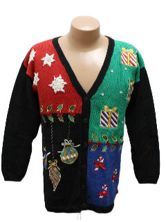 1980's Womens Totally 80s Style Look Ugly Christmas Cardigan Sweater