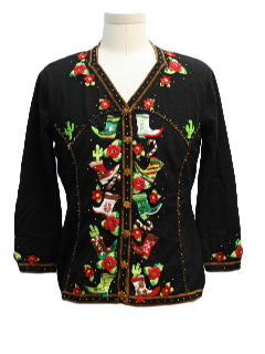 1990's Womens Southwestern Style Ugly Christmas Sweater